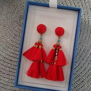 NIB Persimmon Tassel Red Earrings
